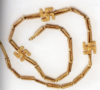 Ancient Iranian necklace featuring swastikas
