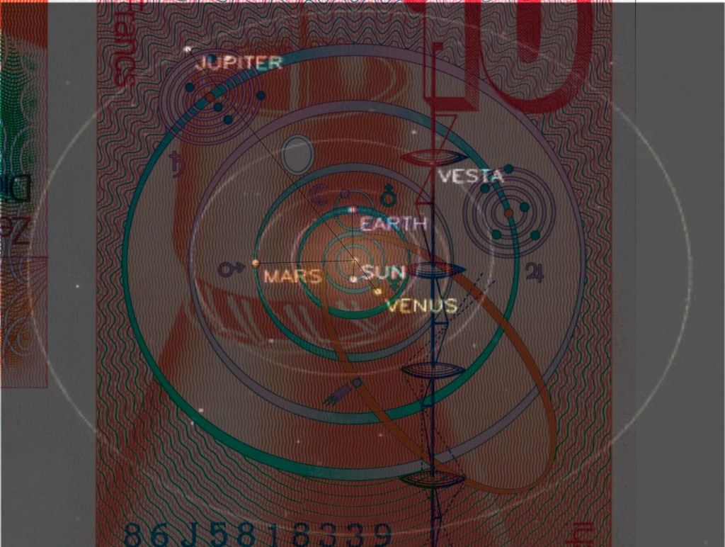 JPL Solar System projection over the Euler note