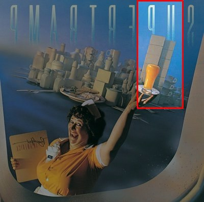 "Reflected image of ""Breakfast in America"" cover with 911 highlighted"