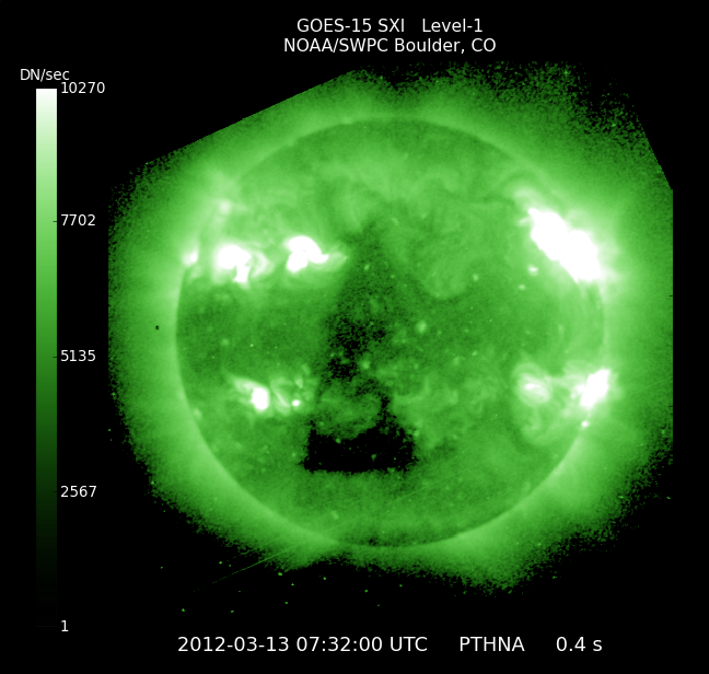 Triangular coronal hole image taken by GOES 15 Solar X-Ray Imager
